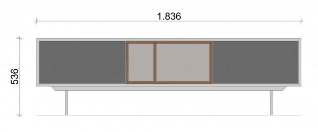 Schiță dimensiuni Comoda TV - All grey