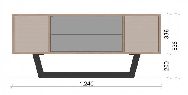 Schiță dimensiuni Comoda TV mica cu doua sertare - Simetric