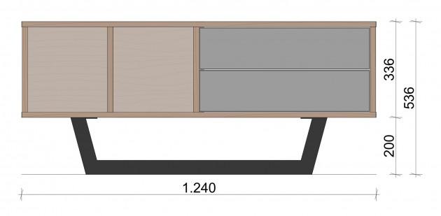 Schiță dimensiuni Comoda TV mica cu doua sertare - Echilibru