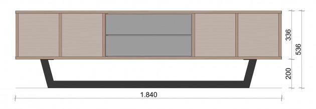 Schiță dimensiuni Comoda TV cu doua sertare - Geometric