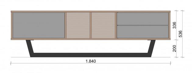 Schiță dimensiuni Comoda TV cu doua sertare - Diferit