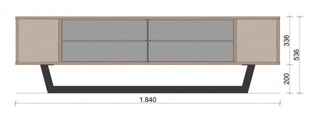 Schiță dimensiuni Comoda TV cu patru sertare - Simetric