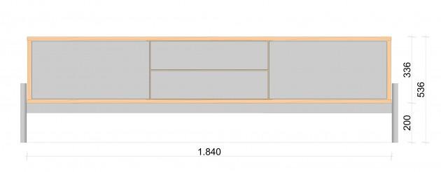 Schiță dimensiuni Comoda TV cu doua sertare - Roure