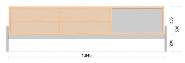 Schiță dimensiuni Comoda TV cu patru nise - Oak Tree