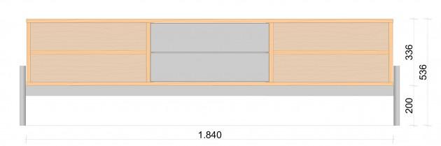 Schiță dimensiuni Comoda TV cu doua sertare si  patru nise - Tammi