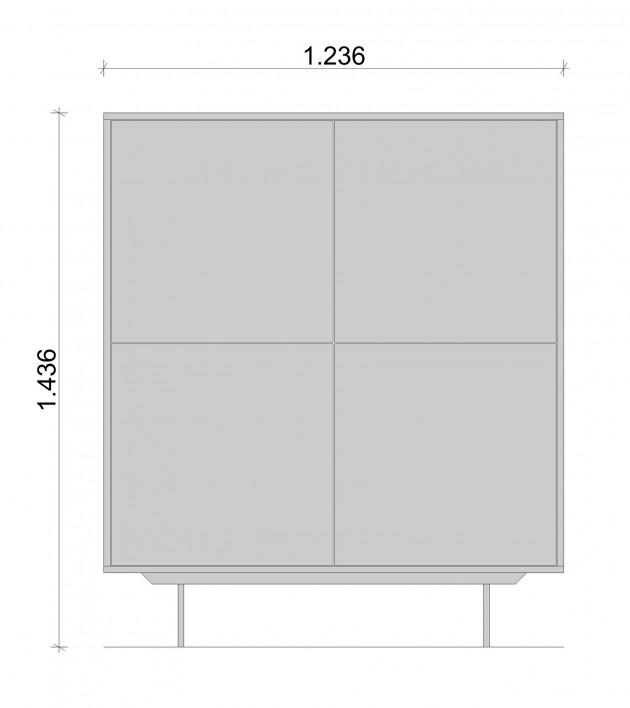 Schiță dimensiuni Dulap dormitor, alb mat - All White