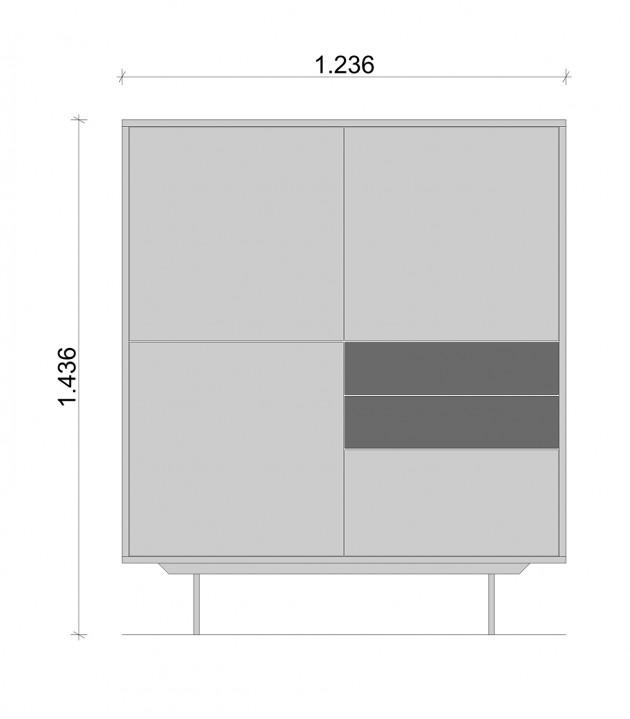 Schiță dimensiuni Dulap dormitor, alb si gri, cu trei sertare - All White