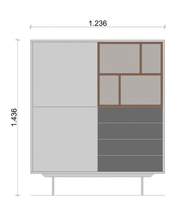 Schiță dimensiuni Dulap dormitor, alb si gri, cu patru sertare - Nature