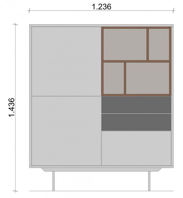Schiță dimensiuni Dulap dormitor, alb si gri mat, cu trei sertare - White Nature