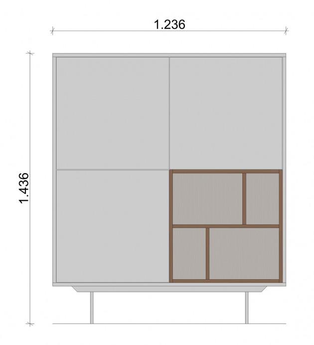 Schiță dimensiuni Dulap dormitor, alb mat - White Nature