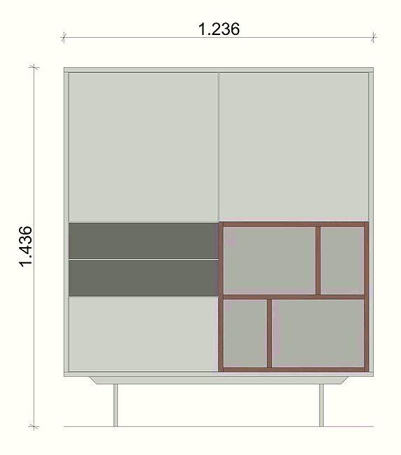 Schiță dimensiuni Dulap dormitor - Grey and White Nature