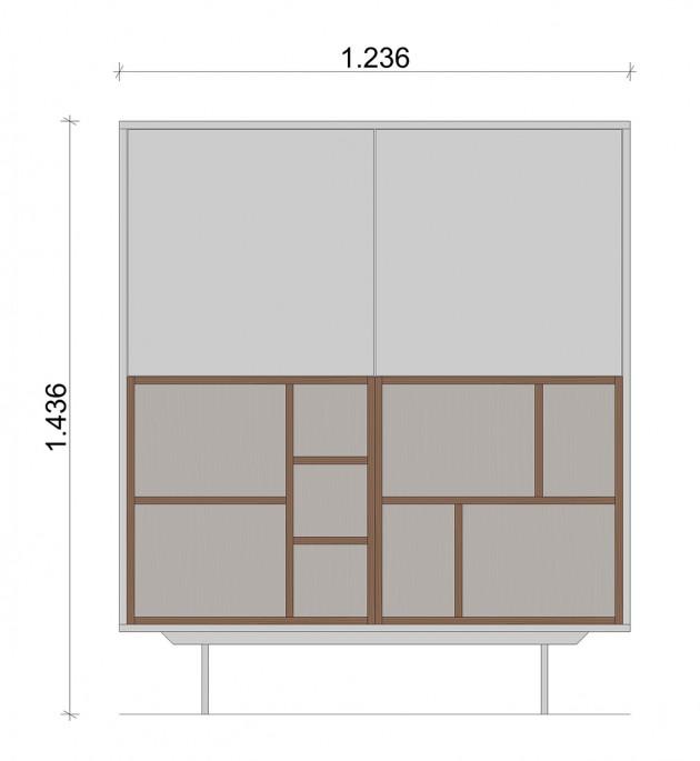 Schiță dimensiuni Dulap dormitor, alb mat - In Nature