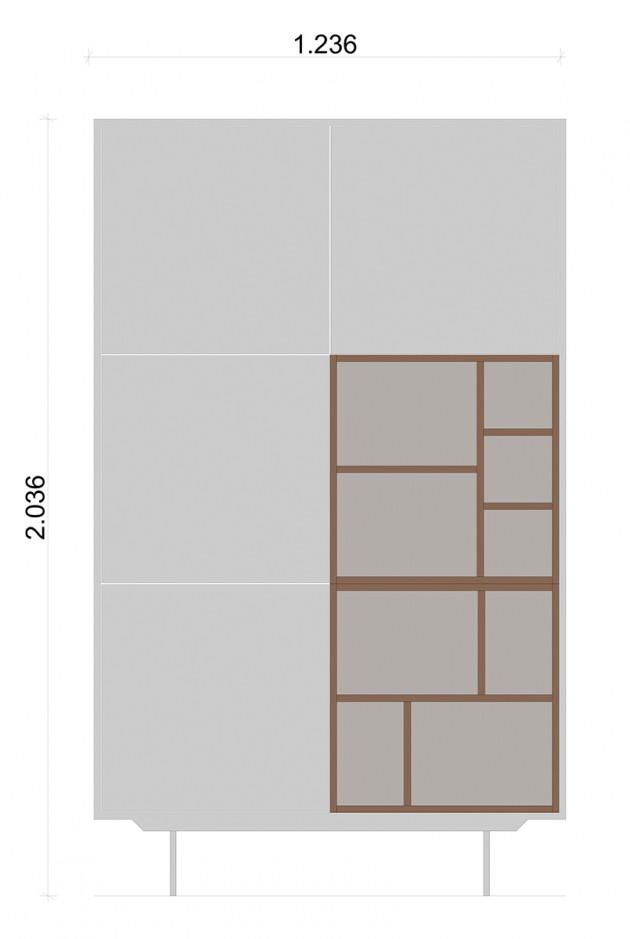 Schiță dimensiuni Dulap dormitor, alb mat - Nature Tower
