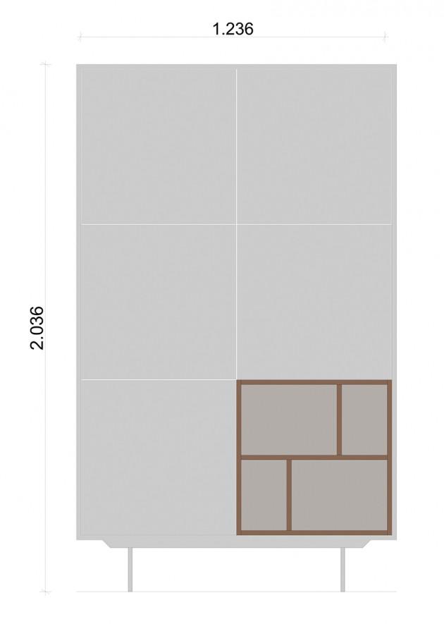 Schiță dimensiuni Dulap dormitor, alb mat - Little Nature