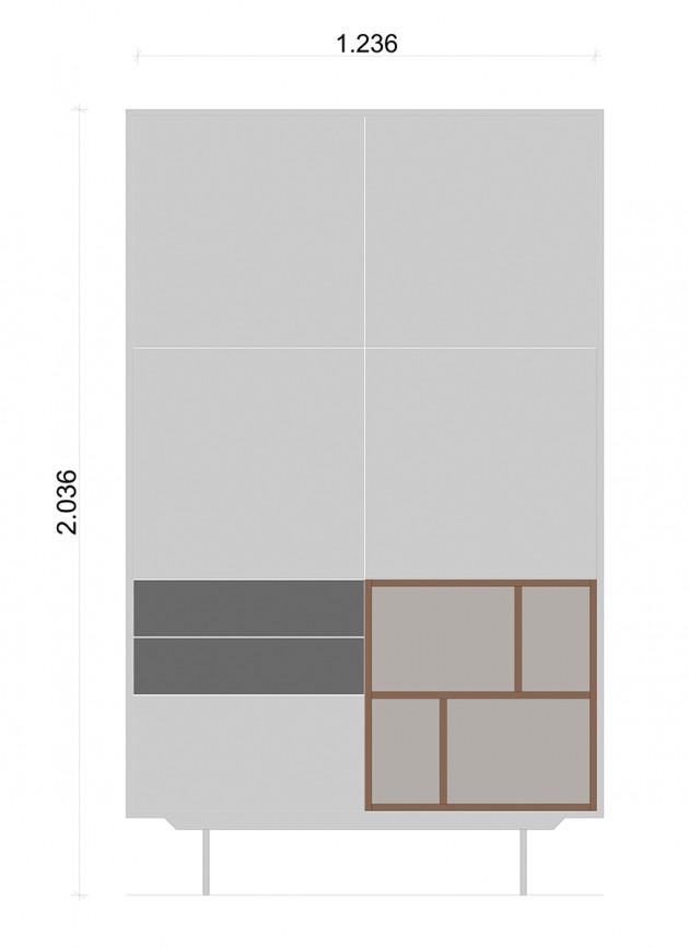 Schiță dimensiuni Dulap dormitor, cu trei sertare - Grey Nature