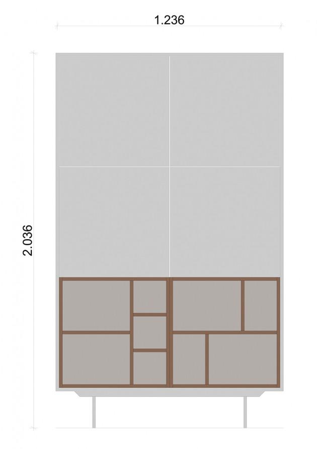 Schiță dimensiuni Dulap dormitor, alb mat - Flat Nature