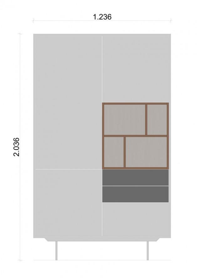 Schiță dimensiuni Dulap dormitor, cu trei sertare - White and Grey