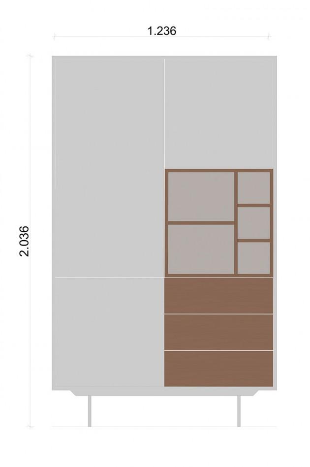 Schiță dimensiuni Dulap dormitor, cu trei sertare - More Nature