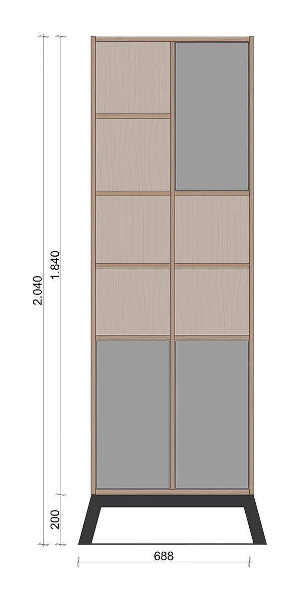 Schiță dimensiuni Dulap dormitor, inalt,cu trei usi - Deplin