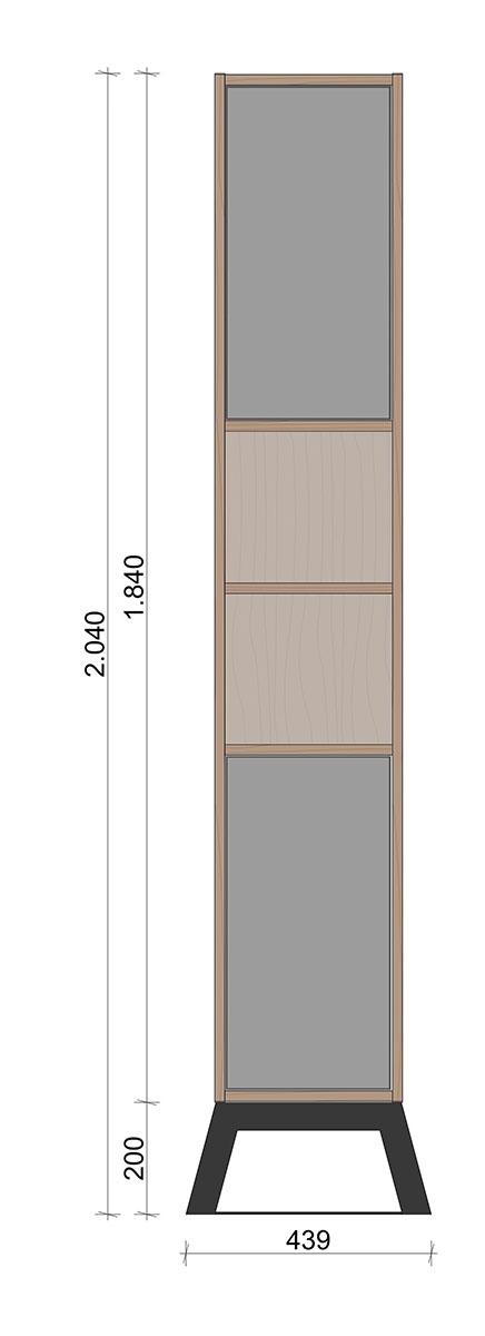 Schiță dimensiuni Dulap dormitor, inalt, cu doua usi - Sine