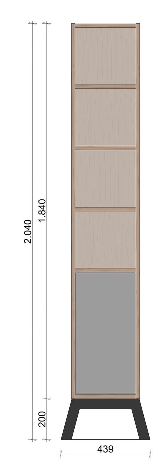 Schiță dimensiuni Dulap dormitor, inalt, cu o usa - Eter