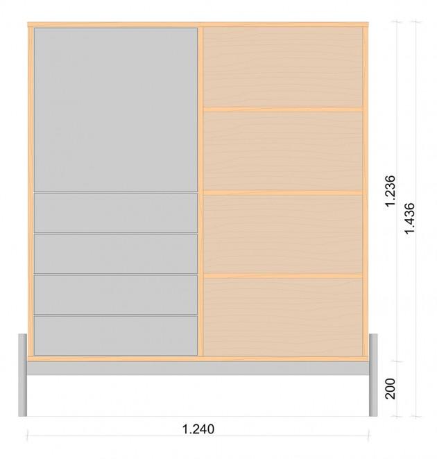 Schiță dimensiuni Dulap dormitor, cu patru sertare - Osisi oak