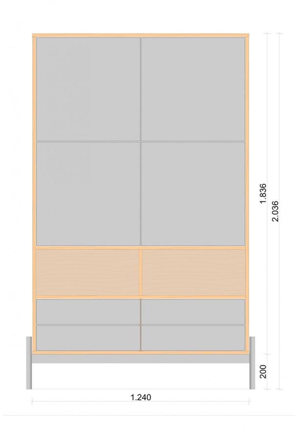 Schiță dimensiuni Dulap dormitor, patru usi, patru sertare - Dabot