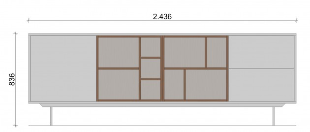 Schiță dimensiuni Comoda cu 2 sertare - All White