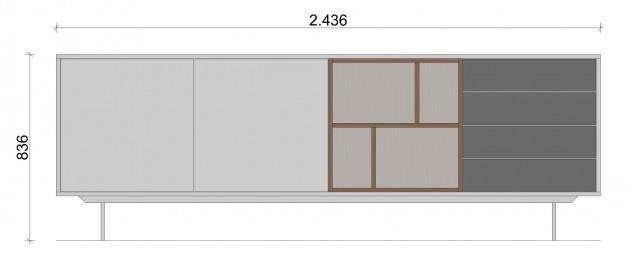 Schiță dimensiuni Comoda cu patru sertare - All White & Grey