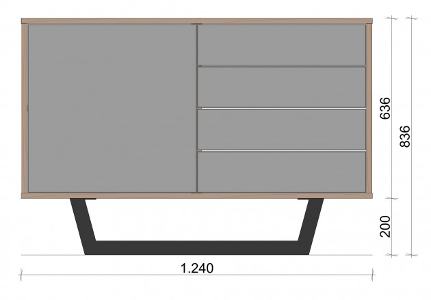 Schiță dimensiuni Comoda cu patru sertare - Inchis
