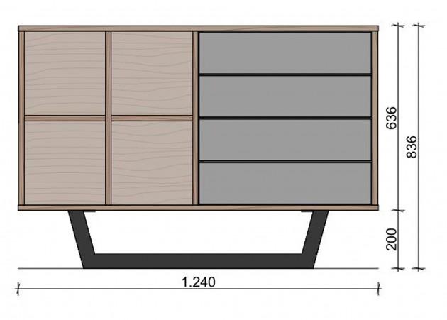 Schiță dimensiuni Comoda cu patru sertare - Echilibru