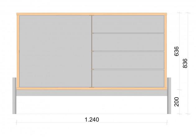 Schiță dimensiuni Comoda cu doua module AGE