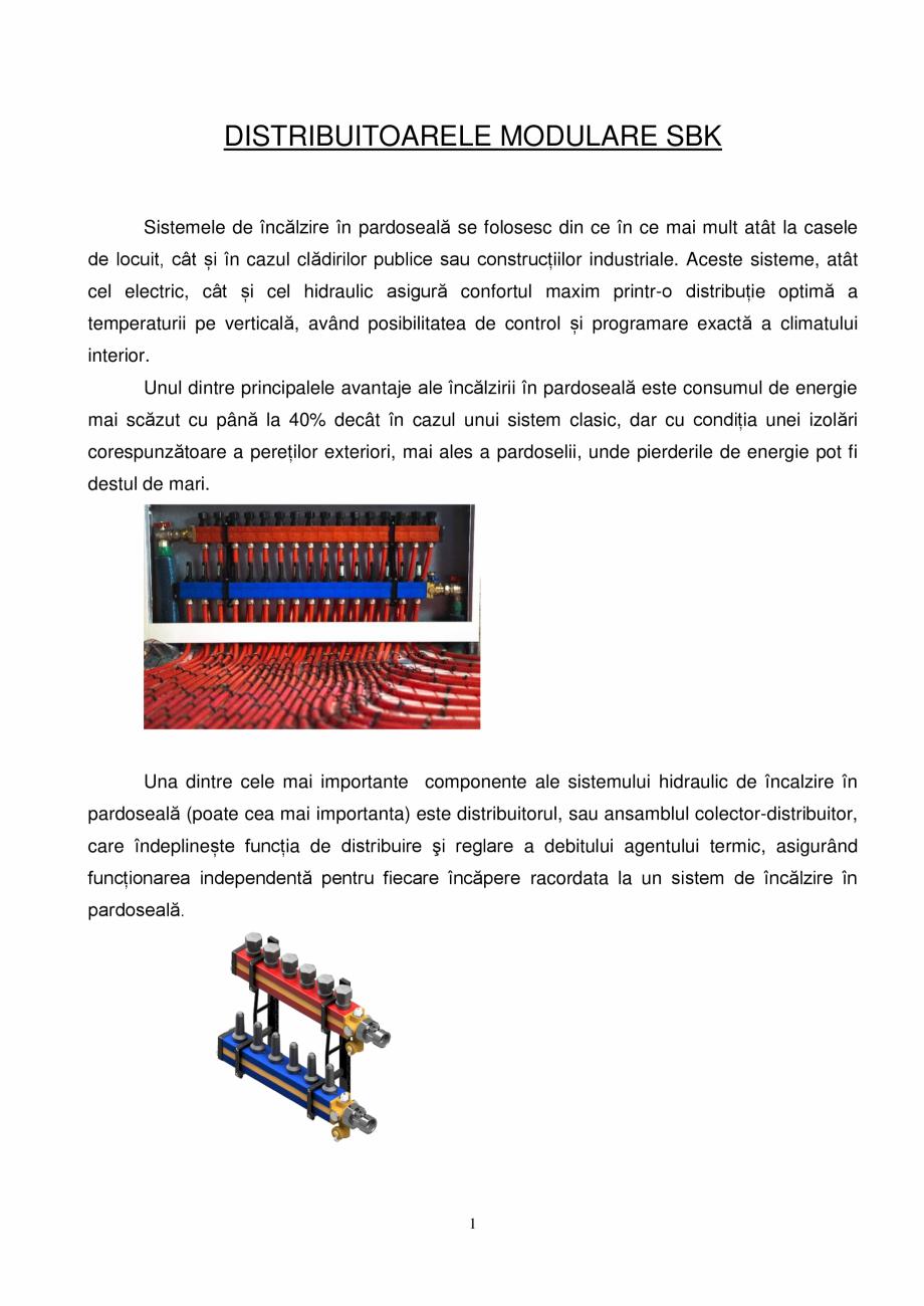 Pagina 1 - Prezentare distribuitoare modulare pentru incalzirea in pardoseala SBK HKV3000, TWINCO...