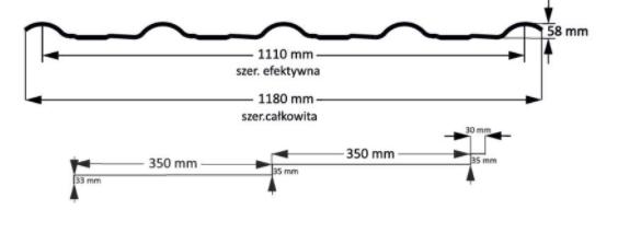 Schiță dimensiuni Ţigla metalică modulară pentru acoperiş Retto