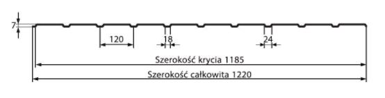 Schiță dimensiuni Tabla trapezoidală T7