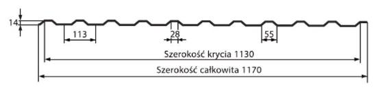 Schiță dimensiuni Tabla trapezoidală T14R Classic
