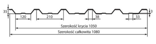 Schiță dimensiuni Tabla trapezoidală T35