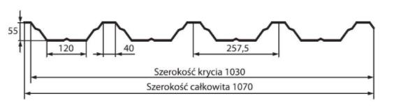 Schiță dimensiuni Tabla trapezoidală T55