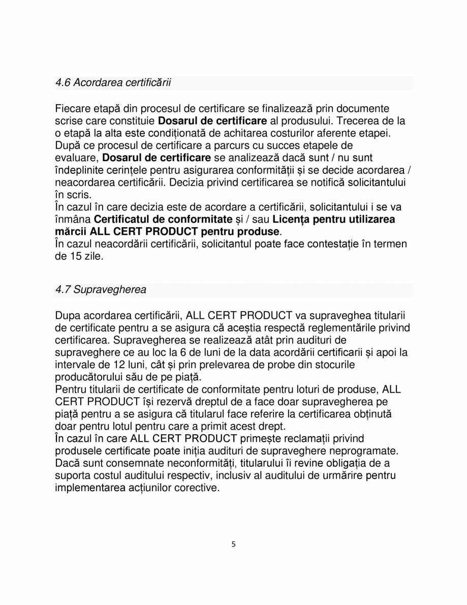 Pagina 5 - Certificare produse constructii ALL CERT PRODUCT Catalog, brosura Romana ă anexele și...