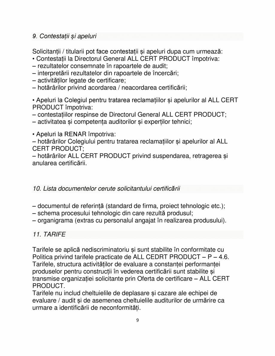 Pagina 9 - Certificare produse constructii ALL CERT PRODUCT Catalog, brosura Romana iață pentru a ...