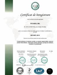 Certificat ITECHSOL - ISO 9001:2015 - Recunoasterea Sistemului de Management al Calitatii