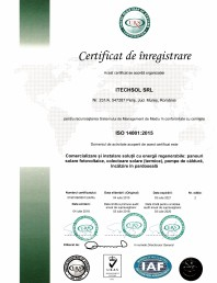 Certificat ITECHSOL -  ISO 14001:2015 - Comercializare si instalare solutii cu energii regenerabile