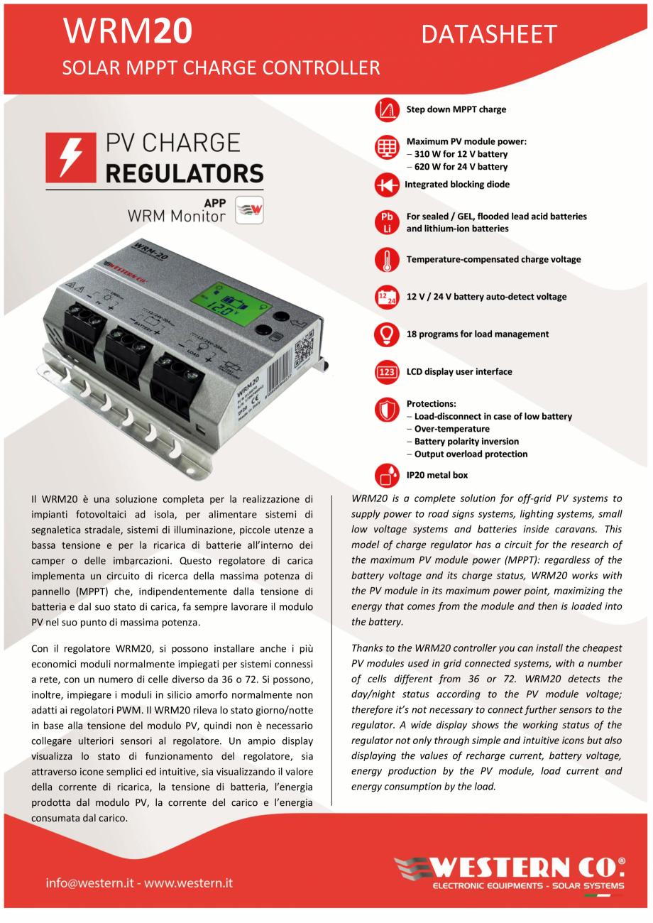 Pagina 1 - Controller solar profesional ITECHSOL MPPT WRM20 Fisa tehnica Engleza, Italiana WRM20 ...