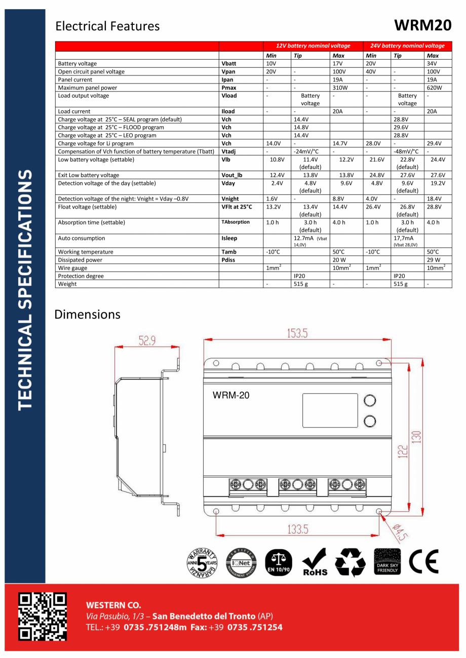 Pagina 2 - Controller solar profesional ITECHSOL MPPT WRM20 Fisa tehnica Engleza, Italiana empre...