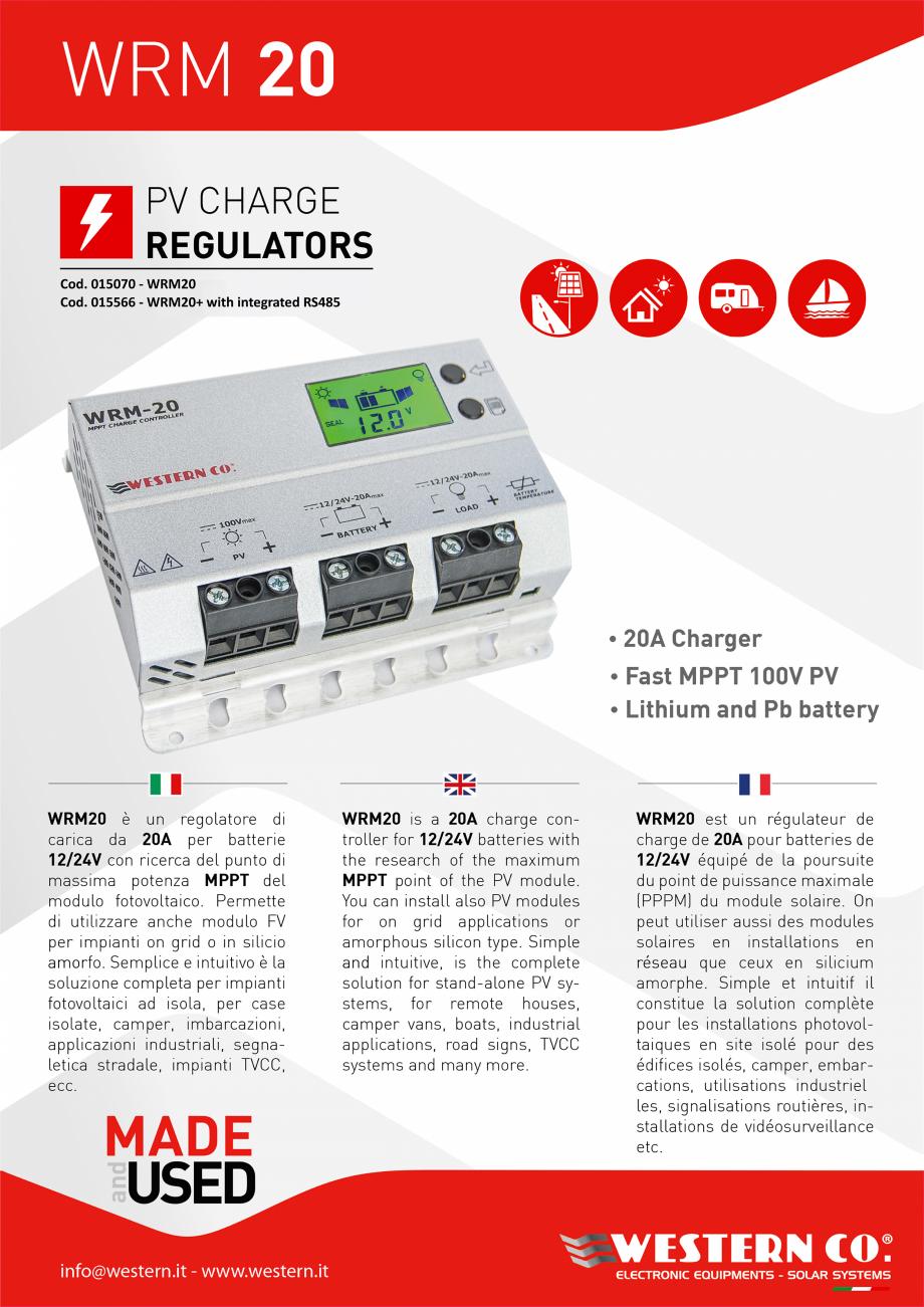 Pagina 1 - Prezentare controller solar profesional ITECHSOL MPPT WRM20 Catalog, brosura Engleza,...