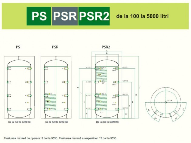Schiță dimensiuni Rezervoare de stocare (puffere) cu si fara serpentina - PS/PSR/PSR2