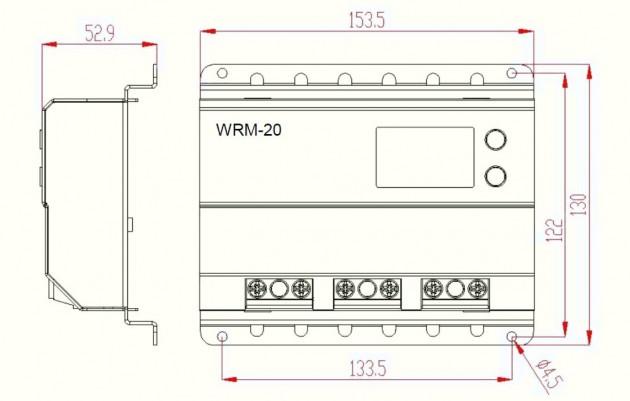 Schiță dimensiuni Controller solar profesional - MPPT WRM20 100V