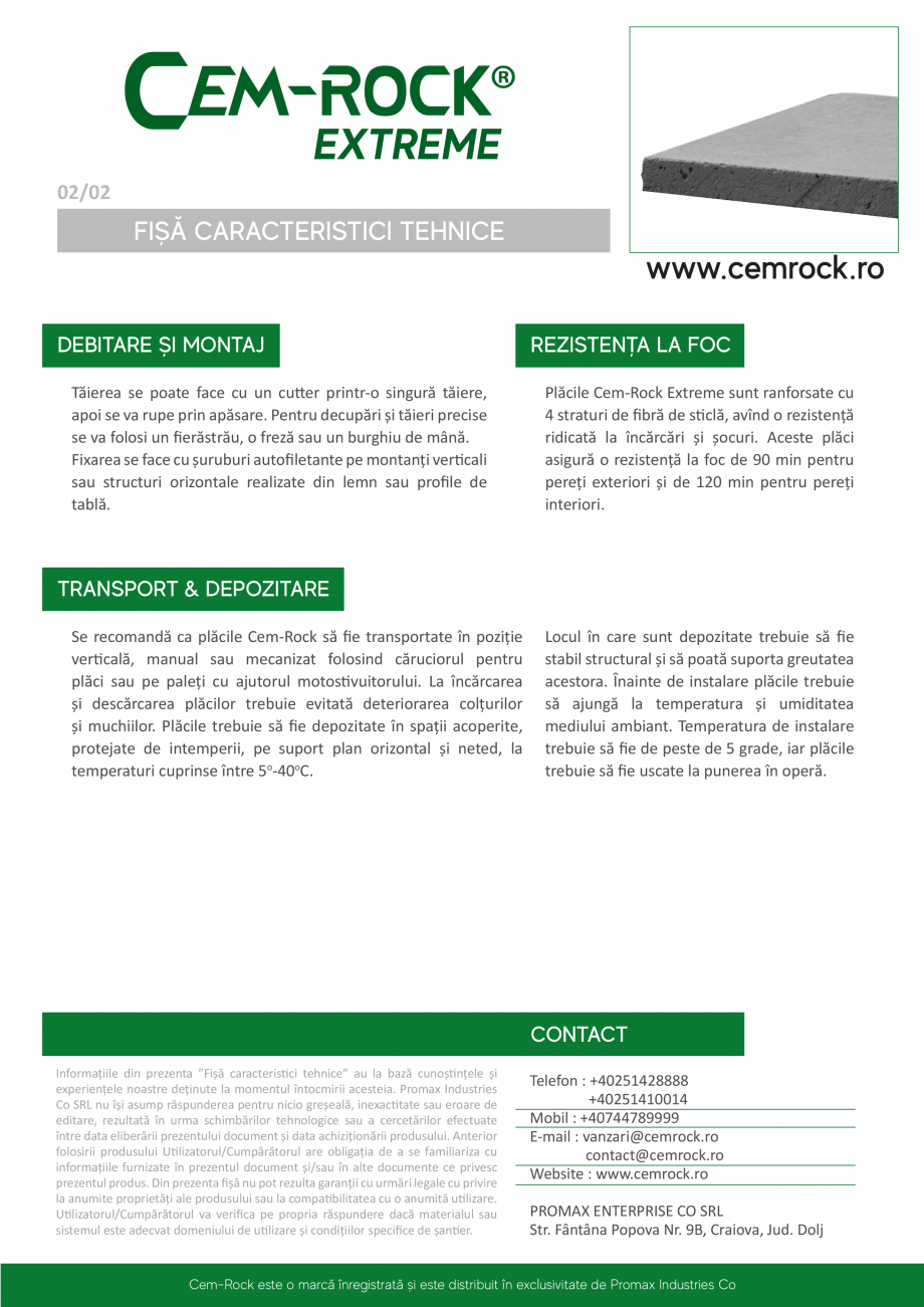 Pagina 3 - Placi din fibrociment CEM-ROCK CemRock Extreme Fisa tehnica Romana  foc - rezistente la...