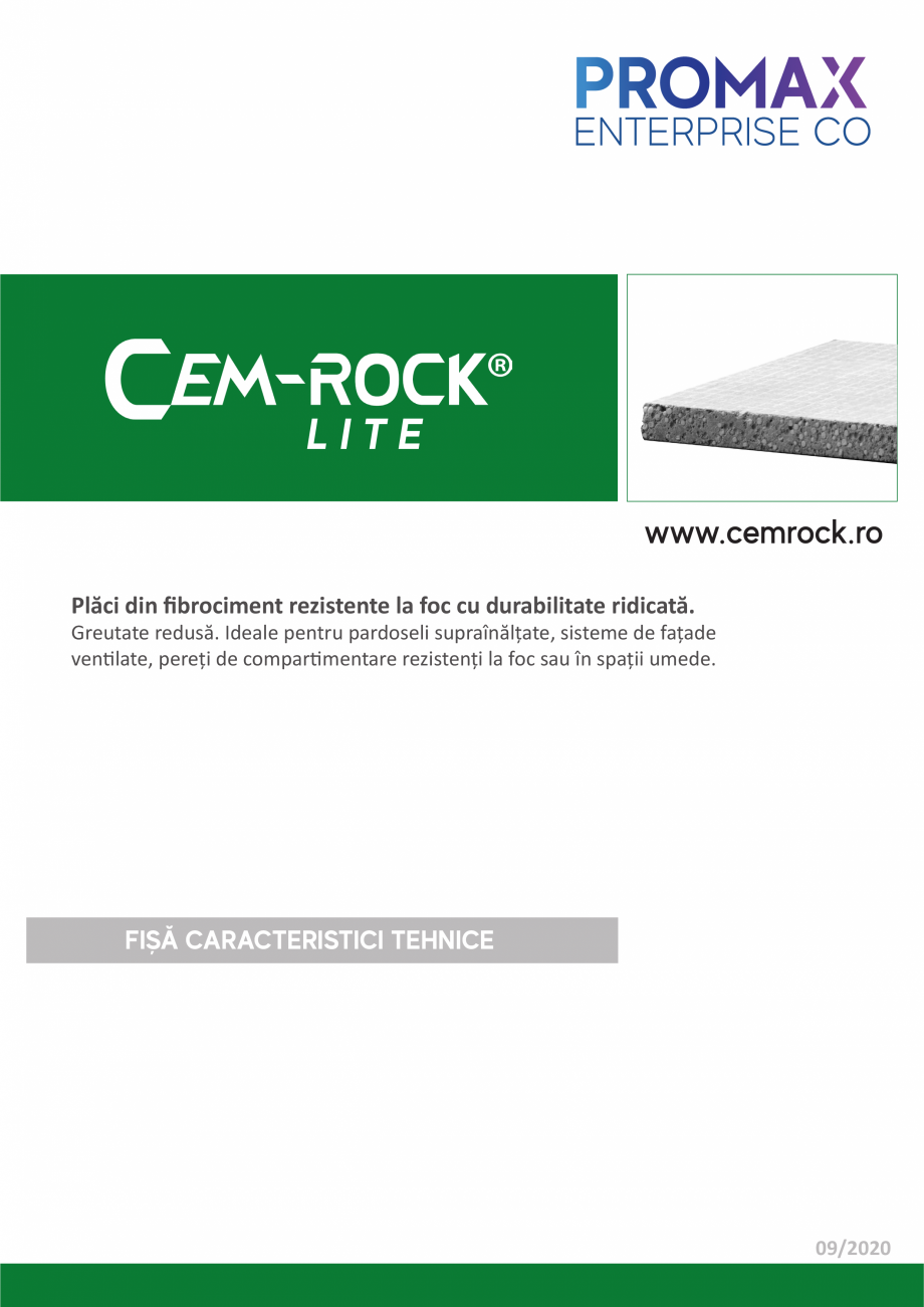 Pagina 1 - Placi din fibrociment CEM-ROCK Cemrock Lite Fisa tehnica Romana LITE www.cemrock.ro...