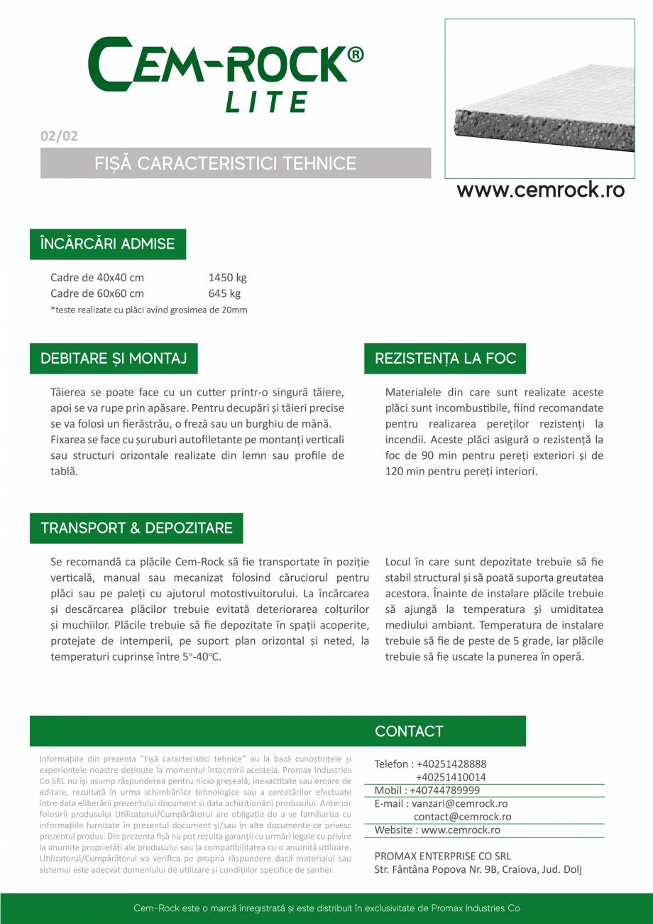 Pagina 3 - Placi din fibrociment CEM-ROCK Cemrock Lite Fisa tehnica Romana emperii - rezistență la...